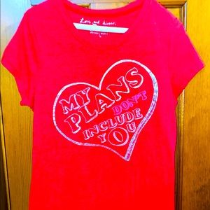Victoria's Secret Pink T-shirt Red My Plans Don't